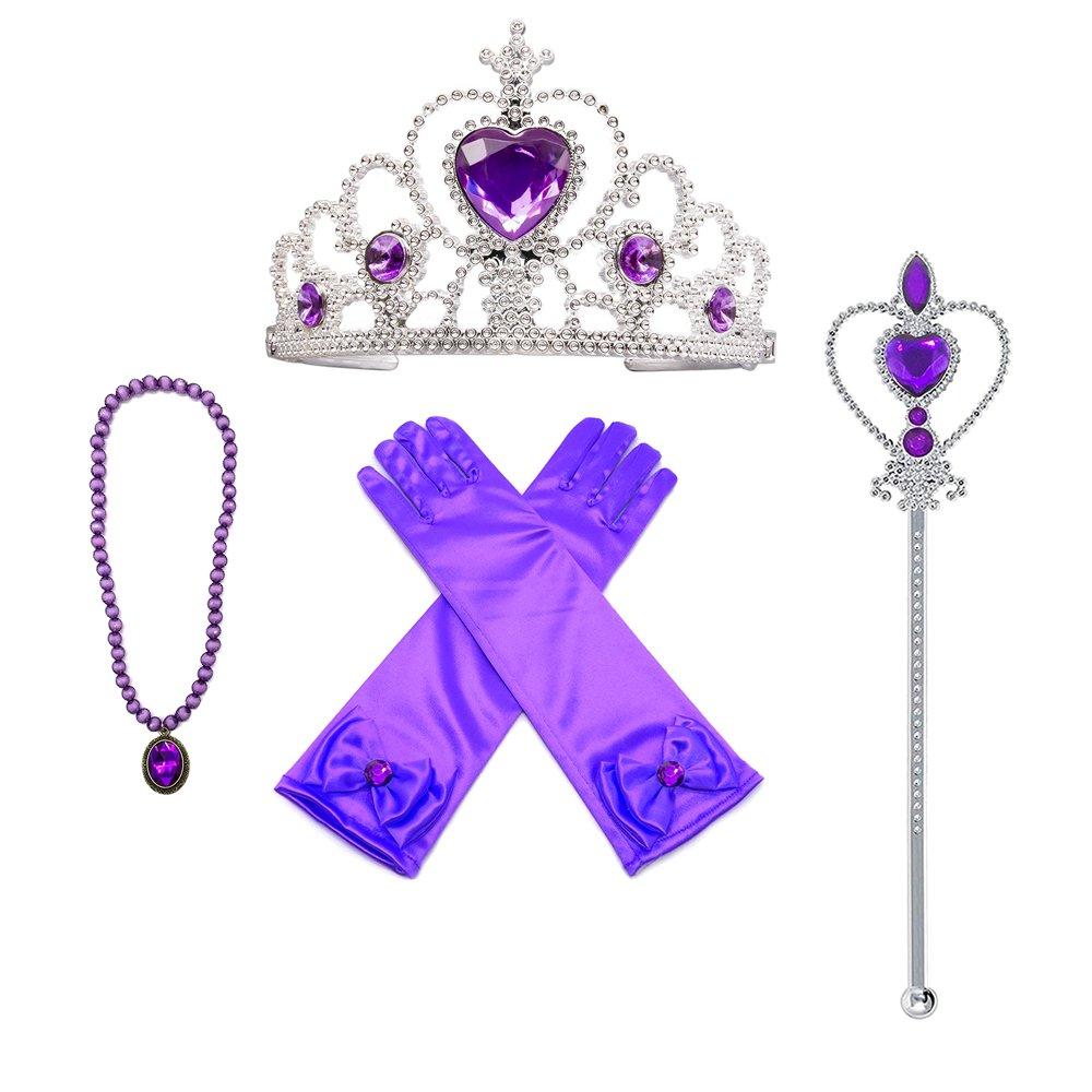 MISS FANTASY Princess Dress up accessories Christmas Supplies Set Of 4 (Purple)