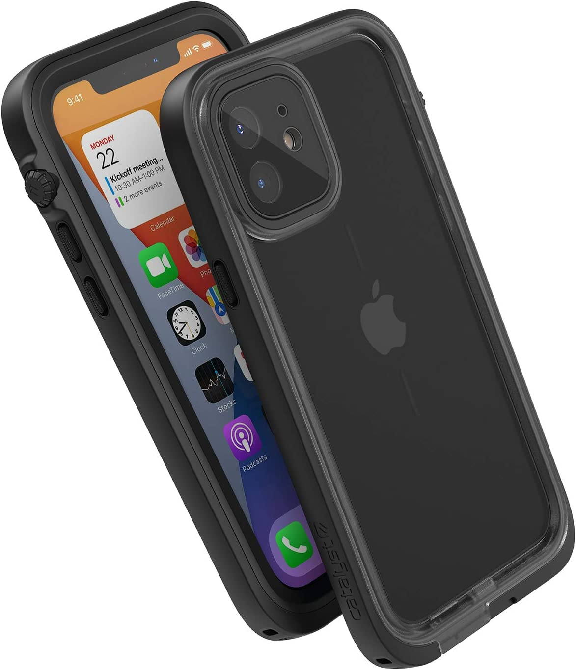 Catalyst 33ft Waterproof Case Designed for iPhone 12 - Drop Proof 6.6ft, Clear Back, Compatible with Crux Accessories Cases - Stealth Black