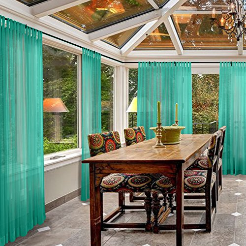 - Macochico Outdoor Indoor Semi Sheer Curtains Solid Color Windproof Privacy Protection Tab Top Voile Tulle Draperies for Patio Garden Backyard Gazebo Porch Peacock 52W x 84L (1 Panel)