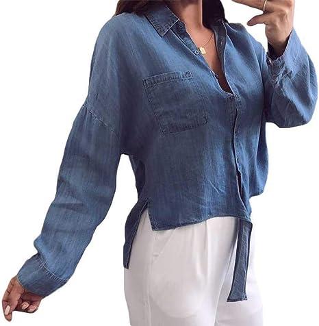 LHZMLO Blusa De Mezclilla para Mujer Camisa con Botones De Manga Larga Top Holgado Informal Camisa Asimétrica Anudada-Light Blue,M: Amazon.es: Deportes y aire libre