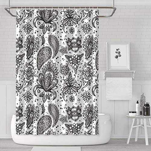 Beautiful Mehndi Art Design Elements Black Shower Curtain Funny Bathroom Decor for Bathroom,Printing Bath Curtains