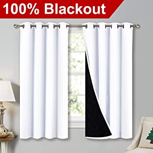 """NICETOWN White 100% Blackout Lined Curtains, 2 Thick Layers Completely Blackout Window Treatment Thermal Insulated Drapes for Kitchen/Bedroom (1 Pair, 52"""" Width x 63"""" Length Each Panel)"""