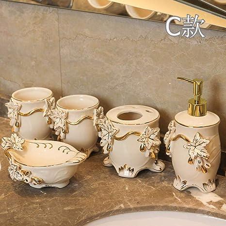 PatTheBot Juego De Accesorios De Baño Arte Moderno 5 Piezas Mano Tallado Flores Emboss Blanco China