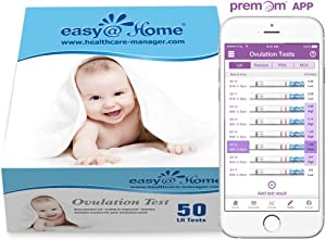 Easy@Home Ovulation Test Strips, 50 Pack Fertility Tests, Ovulation Predictor Kit, FSA Eligible, Powered by Premom Ovulation Predictor iOS and Android App, EZW2-S-50