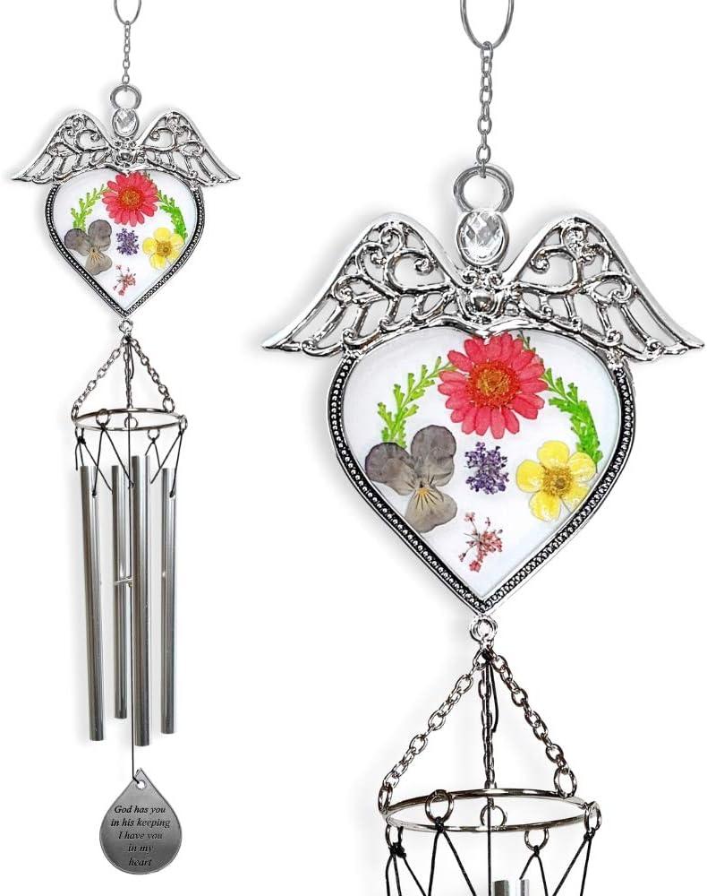 /scacciaspiriti in Loving Memory Angel Chimes con Fiori pressati/ BANBERRY DESIGNS/ /Memorial Wind Chimes per Perdita di Una Persona Amata