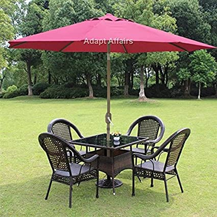 Invezo Impression Luxury Metal Center Pole Patio Umbrella Maroon Color With  Base   Garden Umbrella /