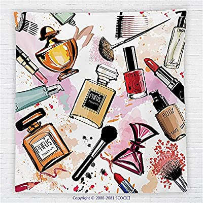 59 x 59 Inches Girly Decor Fleece Throw Blanket Cosmetic and Make Up Theme Pattern with Perfume and Lipstick Nail Polish Brush Modern City Lady Blanket Multi