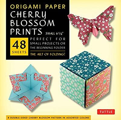 "Origami Paper Cherry Blossom Prints Small- 6 3/4"" 48 sheets: Perfect for Small Projects or the Beginning Folder"