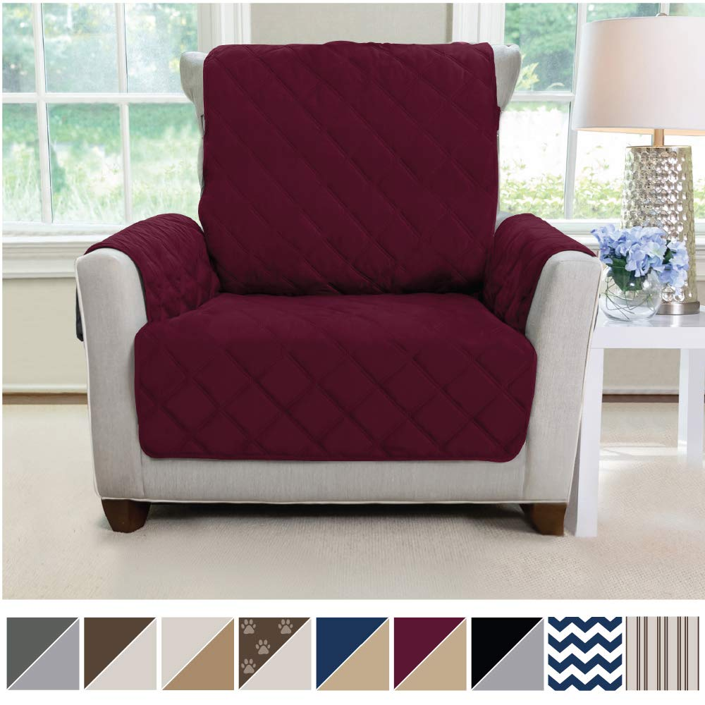 MIGHTY MONKEY Premium Reversible Chair Slipcover, Seat Width to 23 Inch Furniture Protector, 2 Inch Elastic Strap, Washable Armchair Slip Cover for Kids, Dogs, Cats, Chair, Merlot Sand