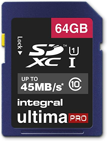 Up To 45MB//s. Integral Ultima Pro Fast 64GB SDXC Class 10 UHS-I Memory Card