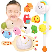 Kitoid Baby Bath Toys, Bathtub Toy with Rainbow Shower 12Pcs, Floating Squirting Toys With Storage Bag(including 9…
