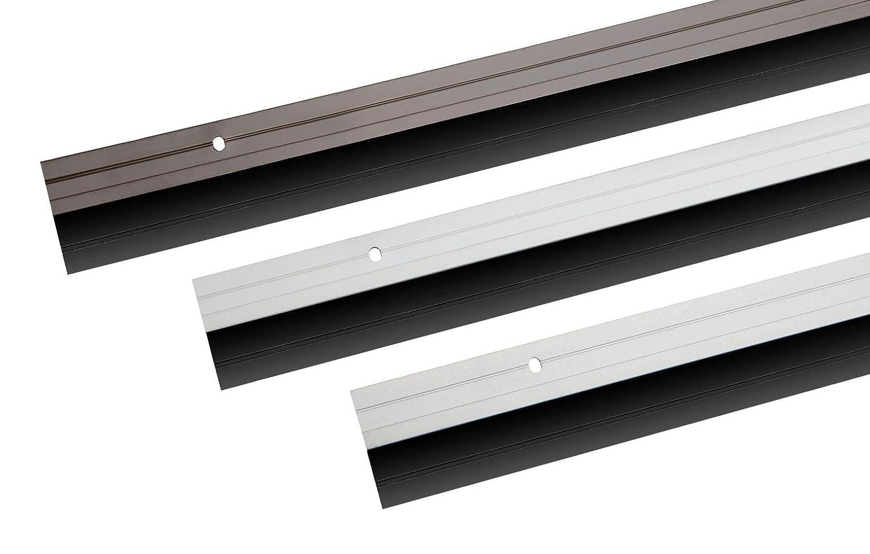 T/ürbodendichtung aus Aluminium mit Gummidichtung oder B/ürstendichtung in 6 Farben zum Schrauben oder Kleben ausw/ählbar Gummidichtung zum Schrauben, Schwarz