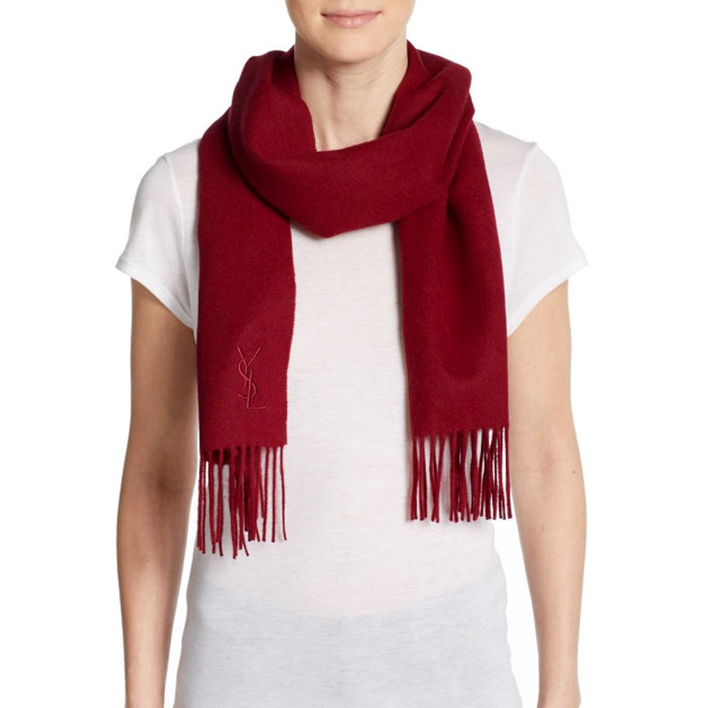 Made In Italy YSL Yves Saint Laurent 2015 Wool & Cashmere Unisex Winter Scarf Holiday Gift (wine)
