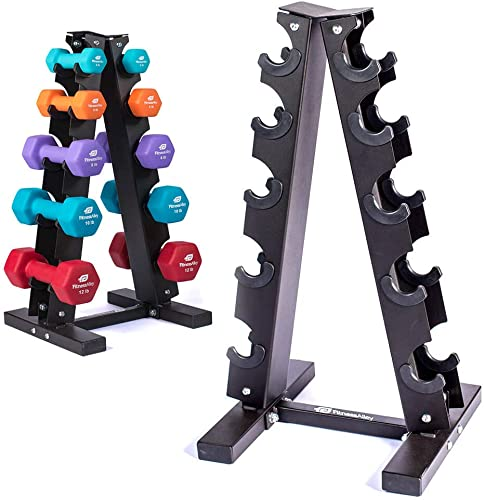 Fitness Alley Steel Dumbbell Rack – 5 Tier Weight Holder 5 Tier Weight Rack Dumbbell Stand – Dumbbell Holder – Dumbbell Rack Stand 5 Tier Rack 3,5,8,10,12 lbs Dumbbells