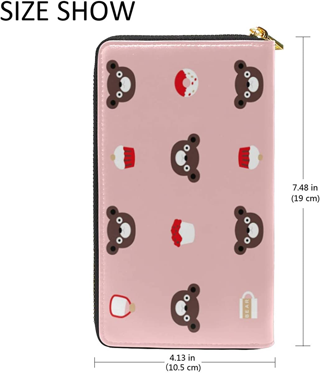 DEZIRO Cartoon Bear And Cup Cake Lady Purse Zip Around Credit Card Case