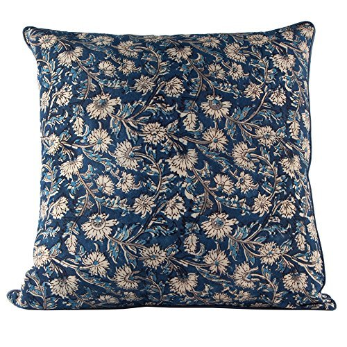 Decorative Indian Hand Made Print Cotton Throw Pillow Covers - 18x18 - Kurnool Print - Home Decor - Accent Pillows - Throw Pillows for Couch