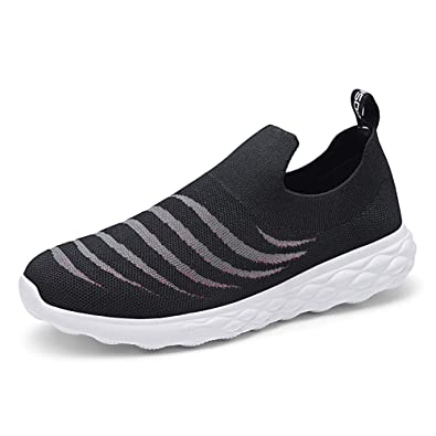 6a04be360a778 TIOSEBON Men s Walking Shoes Lightweight Mesh Slip-on- Breathable Sneakers  7 US Black