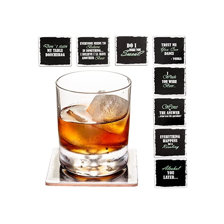 """Prego Premium Drink Coaster Collection – Funny & Witty Novelty Bar Coasters – 4"""" Large Size Square Waterproof & Washable Table Protectors – Set of 8-2 Stainless Steel Wine Battle Stoppers Included"""