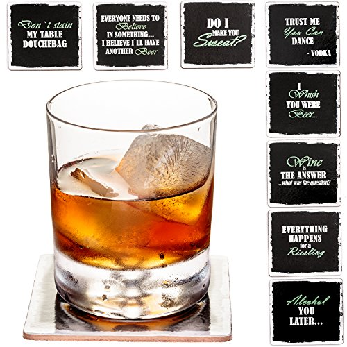 "Prego Premium Drink Coaster Collection - Funny & Witty Novelty Bar Coasters - 4"" Large Size Square Waterproof & Washable Table Protectors - Set of 8-2 Stainless Steel Wine Battle Stoppers Included"