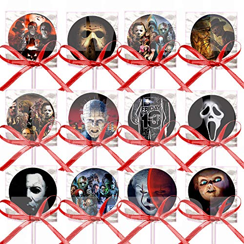 Horror Movie Icons Lollipops Party Favors Decorations Movie Lollipops w/ Red Ribbon Bows Party Favors -12,Halloween Film Jason Freddy Krueger Leatherface Michael Myers Chucky Pinhead Screamer