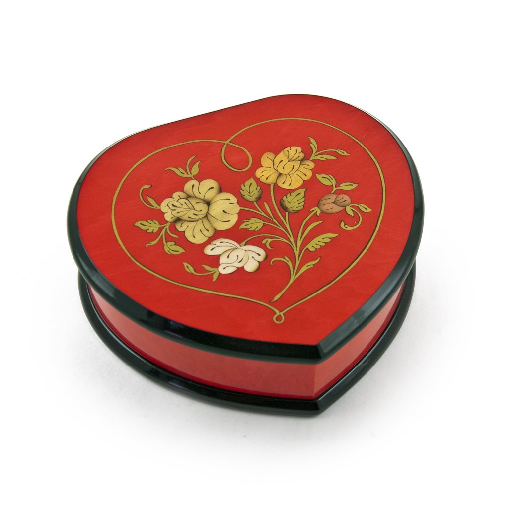 Elegant Cherry Red Heart Shaped Music Jewelry Box with Floral in Heart Frame Inlay Design - There is No Business Like Show Business