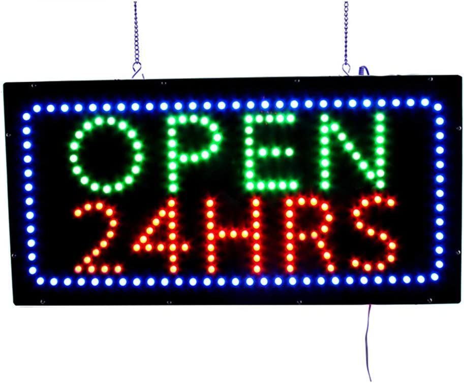 Window Business Open Sign Advertisement Board Electric Display Board for Business Shop Bar Hotel 48X25cm HS-Zak Miller LED Open Sign Open 24 Hours 19X10inch Walls