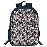 DKFDS Backpacks Unisex School Students Black fly,Ornntal Romantic Summer Vegetation Vibrant Backdrop Monochrome Animals,Taupe Pink Black Kids,