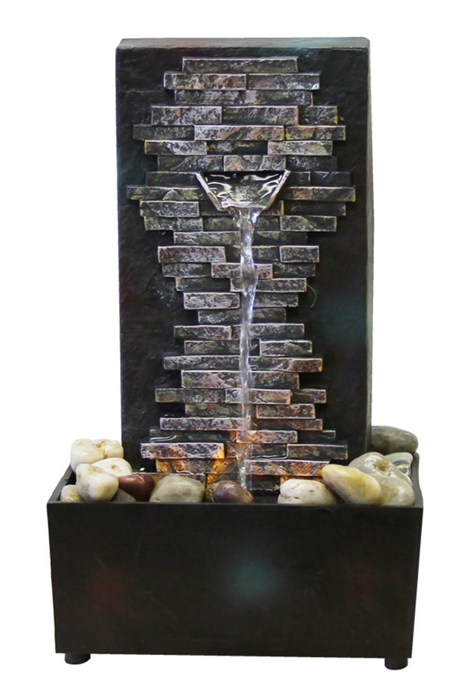 Great Natureu0027s Mark Slate Brick Wall LED Relaxation Water Fountain With Authentic  River Rocks