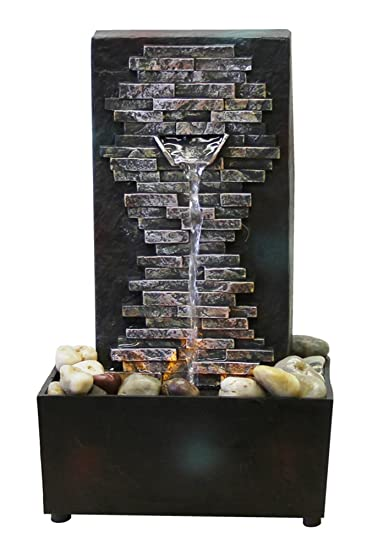 Natures Mark Slate Brick Wall LED Relaxation Water Fountain with Authentic River Rocks