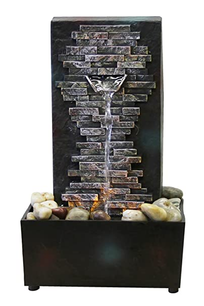 Amazon.com: Natures Mark Slate Brick Wall LED Relaxation Water Fountain with Authentic River Rocks: Home & Kitchen