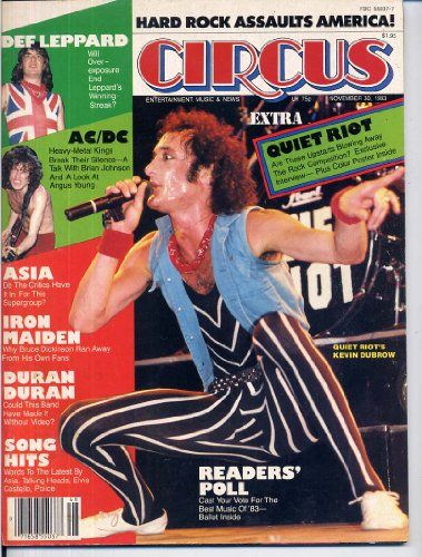 Circus Magazine QUIET RIOT Kevin Dubrow IRON MAIDEN Duran Duran DEF LEPPARD Asia AC/DC November 30, 1983