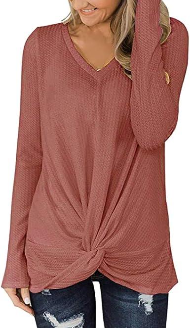 Camiseta de Punto para Mujer, Blusa Manga Larga de Punto con ...