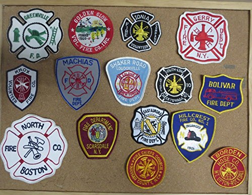 NEW YORK STATE FIRE/RESCUE DEPARTMENT PATCHES/BADGES! SET SEVEN! LOT OF 16!