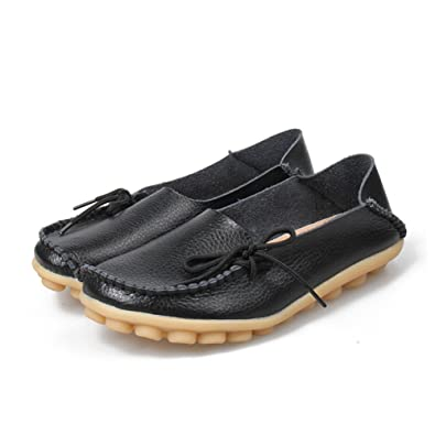3218db14c56 DUOYANGJIASHA Fashion Brand Best Show Women s Leather Loafers Flats Casual  Round Toe Moccasins Wild Breathable Driving