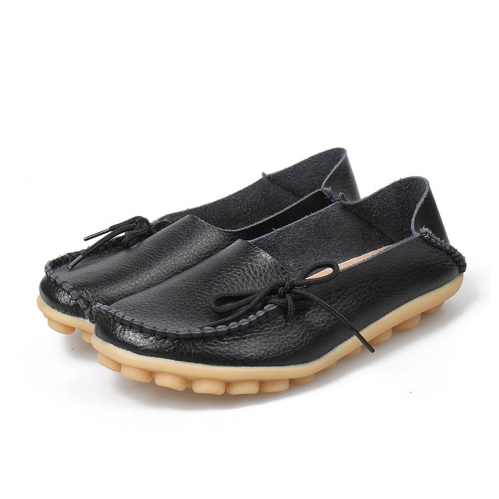Women Flats Cut-outs Comfortable Casual Shoes Round Toe Loafers Moccasins Wild Breathable Driving Shoes (8.5, Black2)