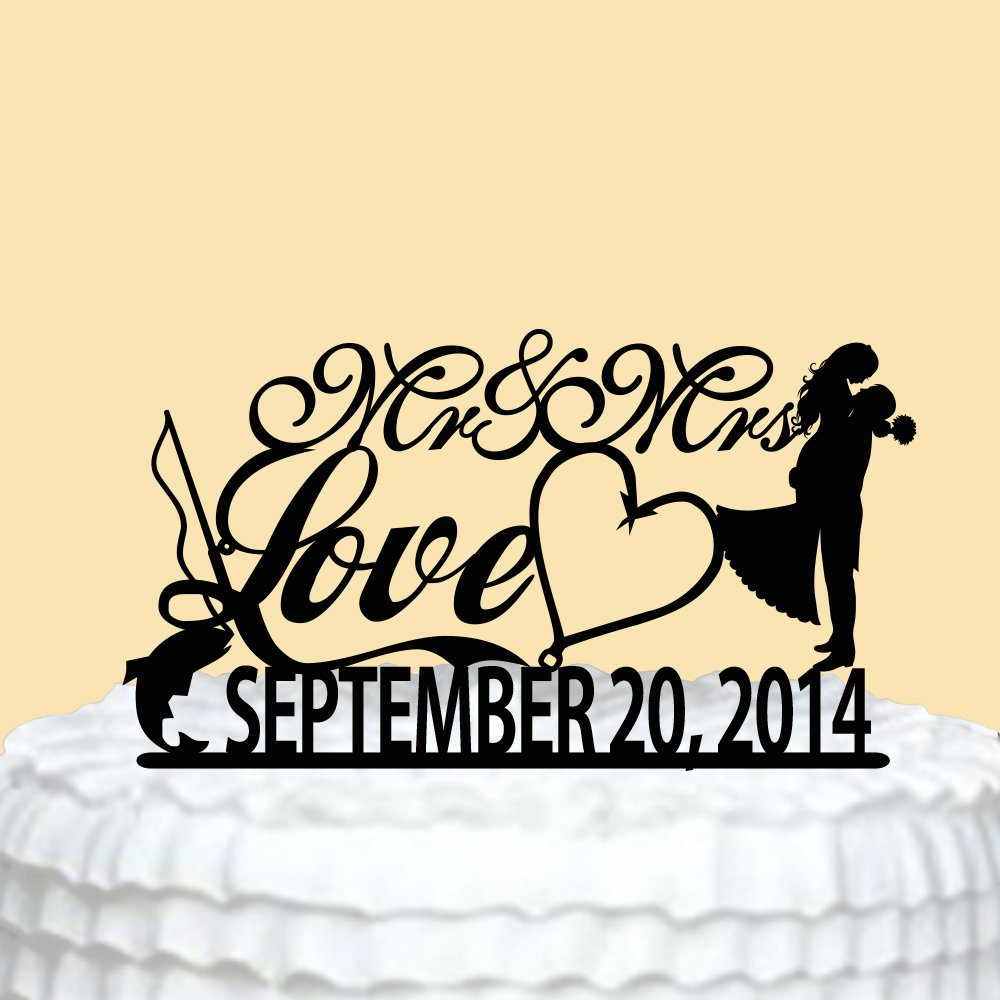 Amazon.com: Wedding Cake Toppers Bride and Groom Mr and Mrs with ...