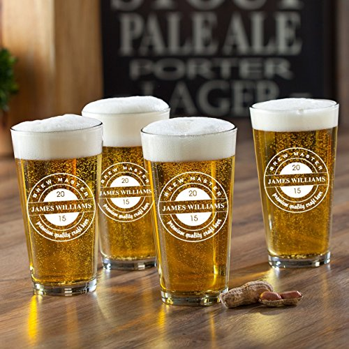 (Personalized Beer Glasses - Set of 4 - Brew Master )