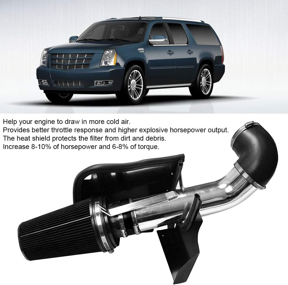 GOTOTOP 4inch Cold Air Intake Kit with Heat Shield Air Intake Pipe Professional High Performance Practical Accessory Fit Cadillac Escalade GMC Yukon