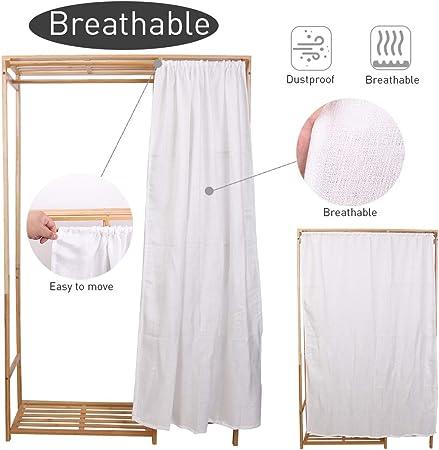 in bamb/ù Medla UNHO 35,4 x 11,8 x 58 cm con mensole Appendiabiti aperto per guardaroba appendiabiti con copertura posteriore