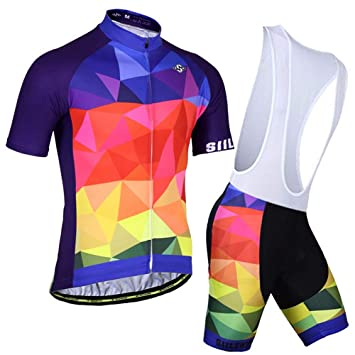 108dfe5cd9a SIILENYOND Men s Short Sleeves Cycling Jersey with Bib Shorts - Bike  Clothing Suits Quick Dry