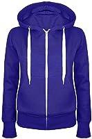 Oops Outlet Ladies Plain Hoody Girls Zip Top Womens Hoodies Sweatshirt Coat Jacket Plus Size 6-24