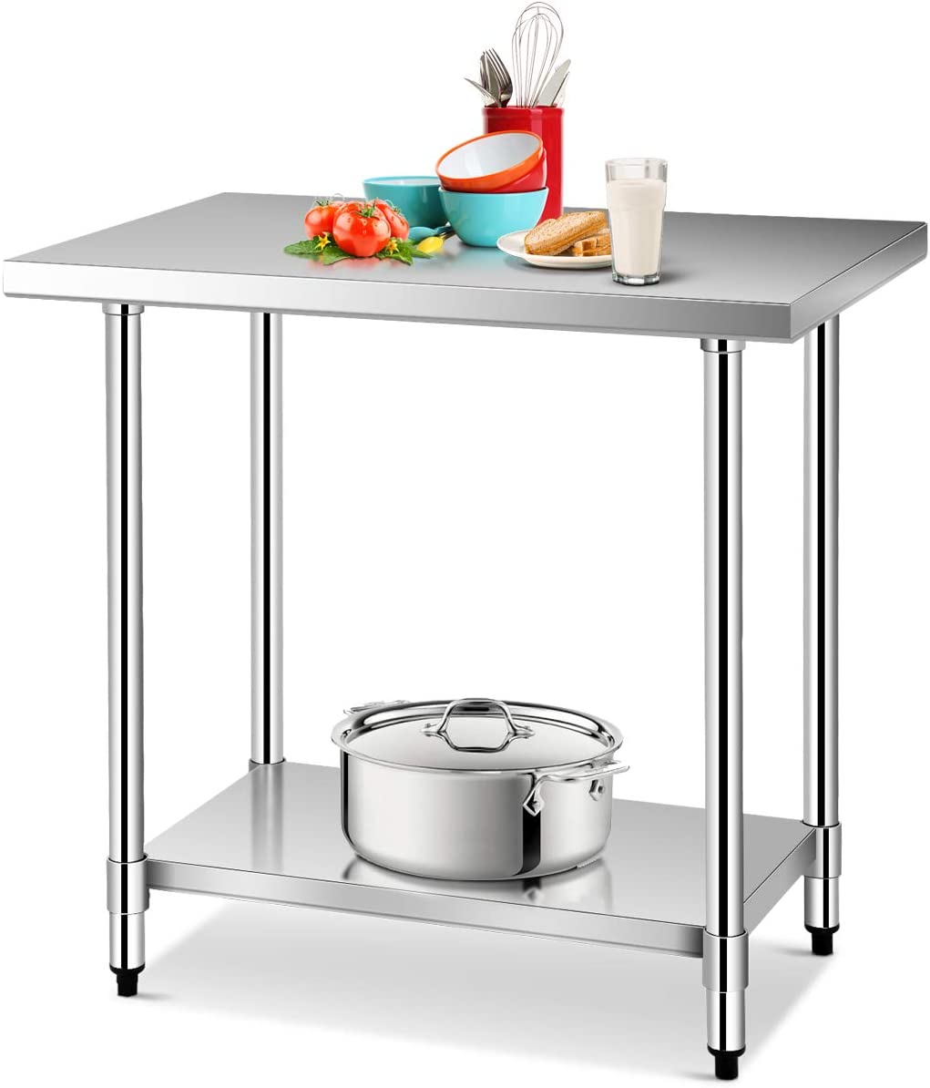 Amazon Com Giantex 36 X 24 Inches Nsf Stainless Steel Work Table Commercial Kitchen Prep Work Table With Galvanized Shelf Adjustable Plastic Feet Heavy Duty Work Prep Table For Kitchen Restaurant Kitchen