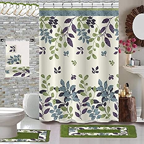 Amazon Com Bh Home Linen 18 Piece Floral Designs Banded Shower