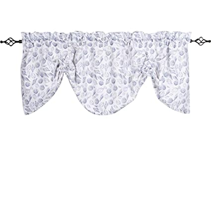 Home Collections by Raghu Shells Gathered Valance, White and Navy, 72 W x 24 L