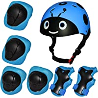Kiwivalley 7 Pieces Kids Outdoor Sports Protective Gear Set,Kids Safety Helmet,Knee & Elbow Pads,Wrist Guards for…