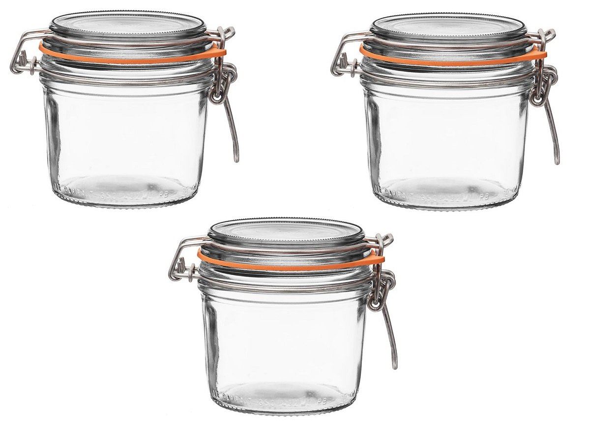 Le Parfait French Terrines Wide Mouth Glass Canning Jar with 85mm Gasket and Lid 12.25 Oz, 350 Grams (Pack of 3)