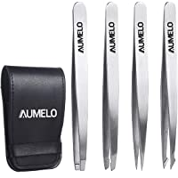 Tweezers Set 4-Piece - AUMELO Professional Stainless Steel Slant Tip and Pointed Eyebrow Tweezers - Great Precision for…