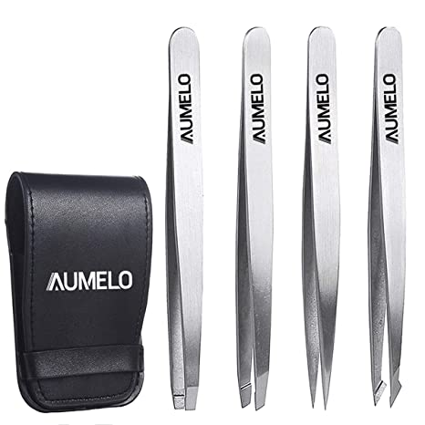 AUMELO Professional Stainless Steel Slant Tip and Pointed Eyebrow Tweezers | Amazon