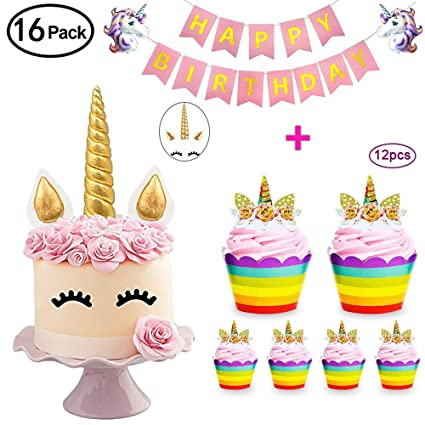 Daisyformals Unicorn Cake Topper With 12x Cupcake Toppers Wrappers And Happy Birthday Banner 2Pcs