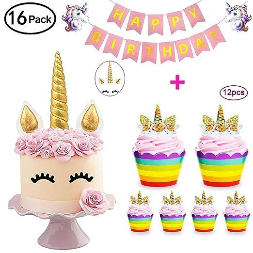 DaisyFormals Unicornio para decoración de tartas con 12 ...